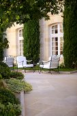 foto of mansion  - Terrace of a luxury mansion near Bordeaux - JPG