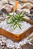 picture of salt-bowl  - salt bath in wooden bowl with rosemary - JPG