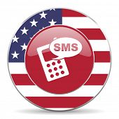 stock photo of sms  - sms american icon original modern design for web and mobile app on white background  - JPG