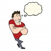 picture of muscle builder  - cartoon muscle guy with thought bubble - JPG