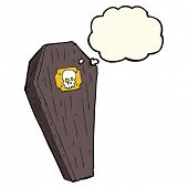 image of coffin  - spooky cartoon coffin with thought bubble - JPG