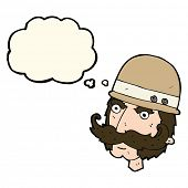 stock photo of hunter  - cartoon victorian big game hunter with thought bubble - JPG