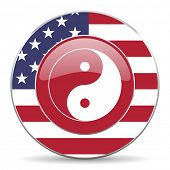 foto of ying yang  - ying yang american icon original modern design for web and mobile app on white background  - JPG