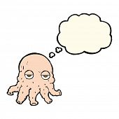 picture of squid  - cartoon alien squid face with thought bubble - JPG