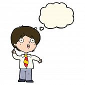 stock photo of schoolboys  - cartoon schoolboy answering question with thought bubble - JPG