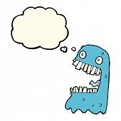 foto of grossed out  - cartoon gross ghost with thought bubble - JPG
