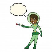 pic of sci-fi  - cartoon sci fi girl with thought bubble - JPG