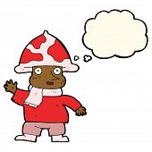 picture of fairy-mushroom  - cartoon mushroom man with thought bubble - JPG