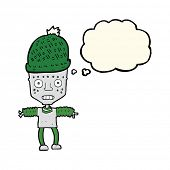 stock photo of crazy hat  - cartoon robot wearing hat with thought bubble - JPG