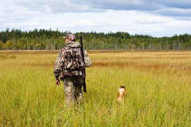 stock photo of hunter  - hunter with his dog on the swamp - JPG