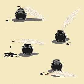 image of inkwells  - Black Inkwell and pen with ink blob - JPG