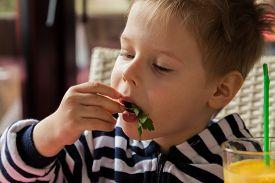 picture of breakfast  - The boy has breakfast - JPG