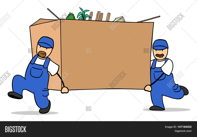 Two Cartoon Moving Helper Carrying Image & Photo   Bigstock
