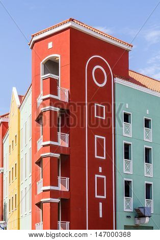 Colorful resort area on the coast of Curacao