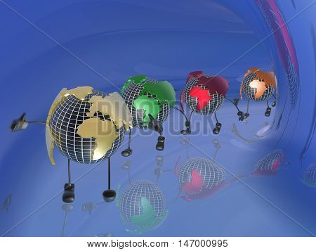 Colored globes in the blue tunnel, 3D illustration.