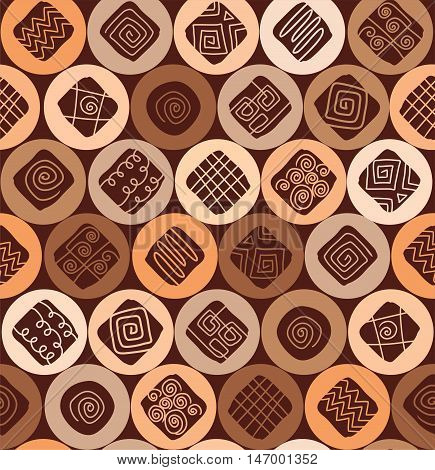 Chocolate chip cookies, seamless pattern, color, vector flat. Vector flat background with circles, squares, and wavy lines. Chocolate chip cookies on a beige circles. Abstract, geometric decoration.