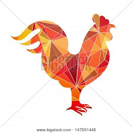 Rooster shape as design element. Sign for 2017 year by Chinese zodiac