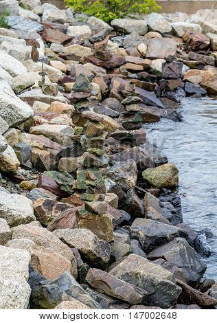 Granite Rocks for a Seawall in Harbor