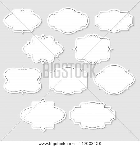 Set of white vintage labels with silver frames