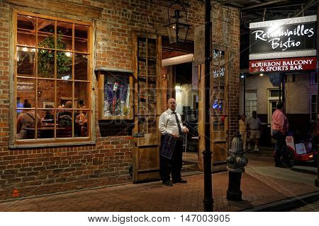 New Orleans, Louisiana, May 4, 2015 : Night Life On Bourbon Street. Known For Its Bars And Strip Clu