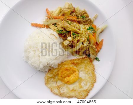 Stir Fried Mixed Vegetables With Yellow Curry & Thai Jasmine Rice On White Plate Isolate On White Ba