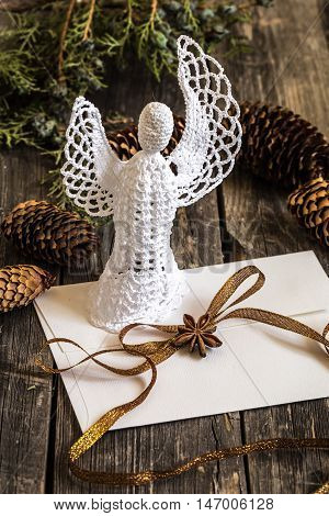 White Crocheted Angel With A Christmas Envelope