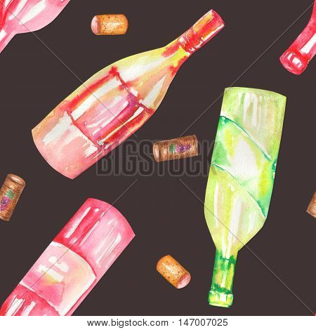 A seamless pattern with the hand-drawn wine (champagne) bottles and wine corcks. Painted in a watercolor on a dark (black) background.