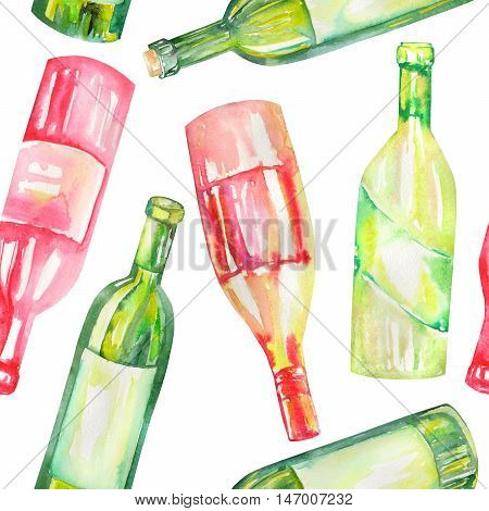 A seamless pattern with the hand-drawn wine bottles. Painted in a watercolor on a white background.