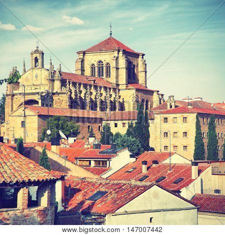 Convent of St. Stephen (San Esteban) in Salamanca, Spain. Instagram style filtered image