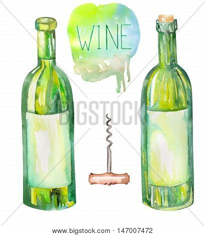 An illustration of the isolated watercolor wine bottles and a corkscrew. Painted hand-drawn in a watercolor on a white background.
