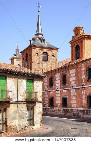 Old street near Oidor church in Alcala de Henares, Spain