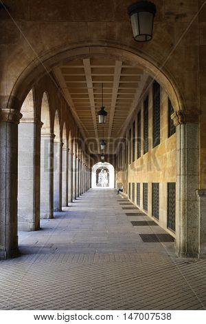 Archway along Gran Via street in Salamanca, Spain