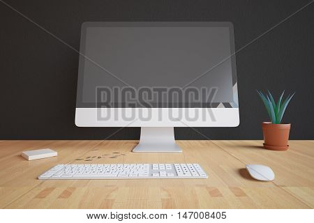 Closeup of creative designer desktop with blank pc screen keyboard mouse decorative plant and other items on dark background. Mock up 3D Rendering