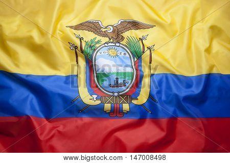 Textile national flag of Ecuador for background