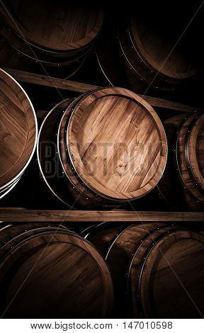 Wooden winemaking barrels in a stock 3d illustration