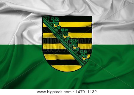 Waving Flag Of Saxony With Coat Of Arms, Germany