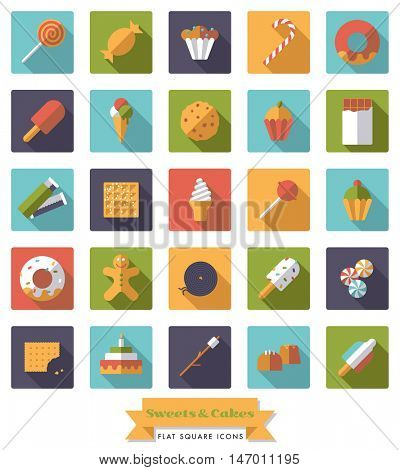 Collection of candy, sweets, cookies and cakes flat design long shadow square icons