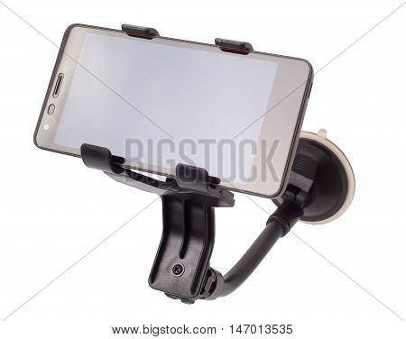 The car holder with phone isolated d