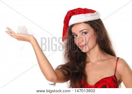 woman with Christmas or New Year decoration isolated on white