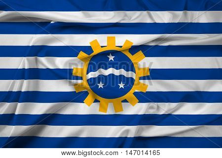 Waving Flag Of Sao Jose Dos Campos, Sao Paulo, Brazil