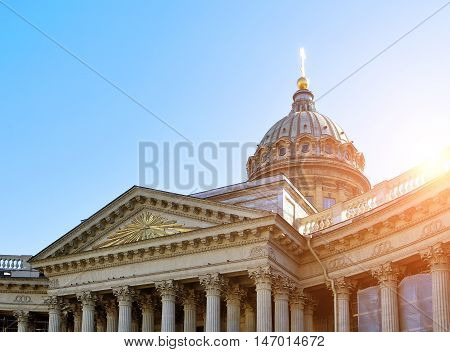 Closeup of Kazan Cathedral in St Petersburg. Kazan Cathedral in St Petersburg Russia in the soft sunset light. Soft filter applied. Architecture landscape of St Petersburg landmark