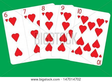 A Straight Flush Winning Poker Hand on a green background