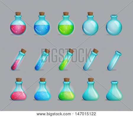 Collection of magic potions of different colors and empty bottles for them. Game and app ui icons, decoration and design elements.