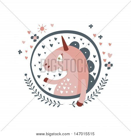 Unicorn Fairy Tale Character Girly Sticker In Round Frame In Childish Simple Design Isolated On White Background