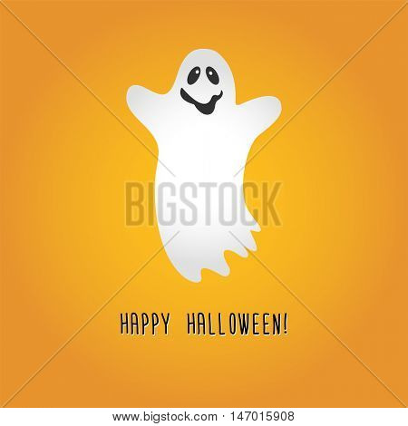 Ghost Cartoon Halloween.  Vector Illustration