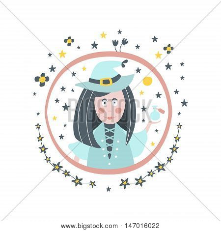 Witch Fairy Tale Character Girly Sticker In Round Frame In Childish Simple Design Isolated On White Background