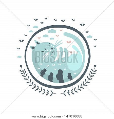 Blue Cat Fairy Tale Character Girly Sticker In Round Frame In Childish Simple Design Isolated On White Background