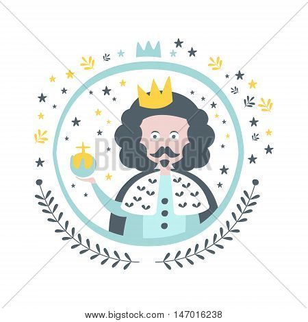 King Fairy Tale Character Girly Sticker In Round Frame In Childish Simple Design Isolated On White Background