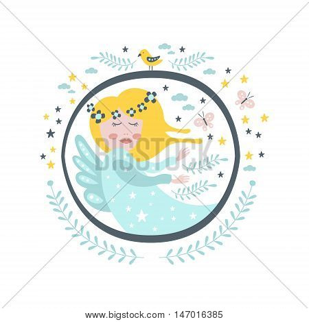 Magic Fairy Fairy Tale Character Girly Sticker In Round Frame In Childish Simple Design Isolated On White Background