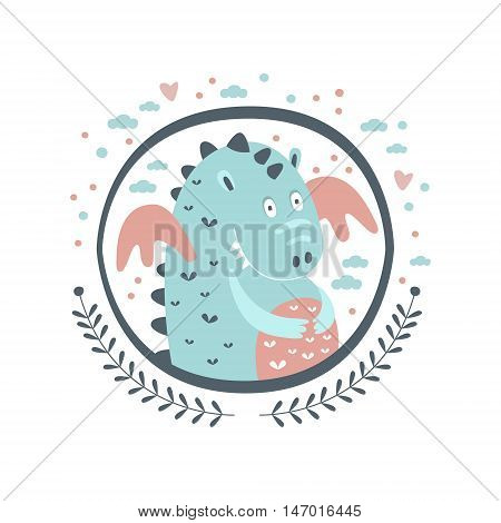 Chubby Dragon Fairy Tale Character Girly Sticker In Round Frame In Childish Simple Design Isolated On White Background